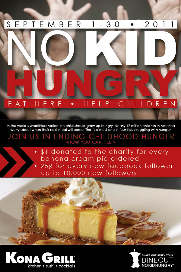 """Like"" us now and Support Kid Kid Hungry at Kona Grill Now!"